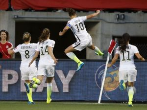 Carli Lloyd celebrates her game-winning goal against China. (Photo: Michael Chow/USA TODAY Sports)