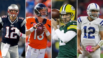 Brady, Manning, Rodgers, Luck (Getty Images)