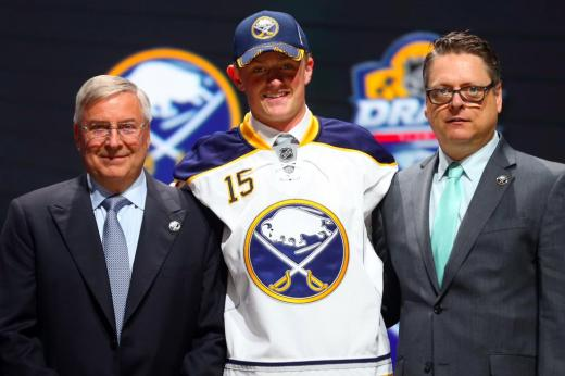 Jack Eichel, Sabres Owner Terry Pegula and GM Tim Murray at the NHL Draft (Bruce Bennett/Getty Images)
