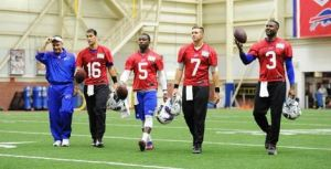 The quarterback position remains a question mark. Pictured: #16 Matt Cassell, #5 Tyrod Taylor, #3 EJ Manuel (Photo Credit: BuffaloBills.com)