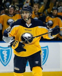 Fans and media alike continues to marvel at the mustard colored third jerseys the Sabres pull on once a month, a jersey Black took the blame for (Photo via Kevin Hoffman/USA TODAY Sports Images)