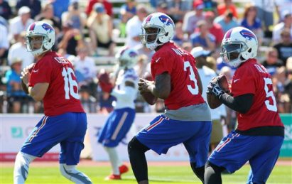 One of Matt Cassel (16), EJ Manuel (3) or Tyrod Taylor (5) will the job as starting Bills quarterback. But why not try other options? (AP Photo/Bill Wippert)