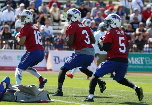Matt Cassel, EJ Manuel, Tyrod Taylor all taking reps at practice. (James P. McCoy/ Buffalo News)