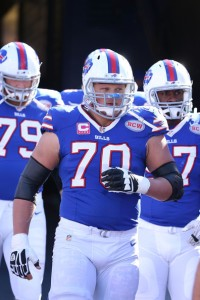 The usually stout Eric Wood (70) has struggled at Center through 2 preseason games (Brett Carlsen/Getty Images)