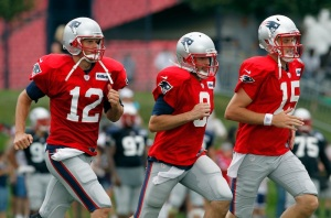 Ryan Mallet (15) and Brian Hoyer (8) once in Tom Brady's shadow, are teammates again in Houston. (AP Photo/Michael Dwyer)