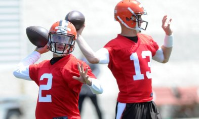 Josh McCown (#13) is the present for the Cleveland Browns this season but they hope Johnny Manziel (#2) is the future. (Ken Blaze/USA Today)