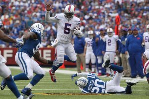 Taylor made plays with his arm and his legs in first regular season action with the Bills (Getty Images)