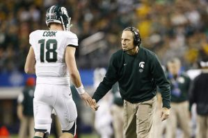 Michigan State coach Mark Dantonio (right) and star QB Connor Cook (left) will look for redemption vs Oregon after last year's blowout loss (MLive.com)