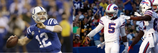 Both Andrew Luck and Tyrod Taylor face big challenges this week. (Getty Images)