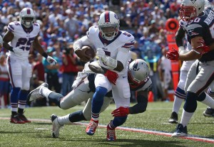 Tyrod Taylor struggled against the Patriots pass rush (Getty Images)
