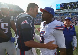Not quite yet: Tom Brady isn't ready to give control of the division to Taylor and the Bills (Getty Images)