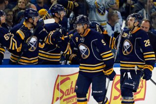 Evander Kane stomps out the doubters putting up his first goal of the 15-16 season with authority. Photo Credit: Kevin Hoffman / USA Today