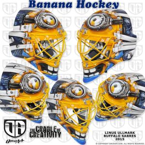 Check out Linus Ullmark's newly designed minion themed mask. (Photo Credit: DaveArt.com)