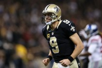 Drew Brees is all smiles after winning a wild one over the Giants (Getty Images)