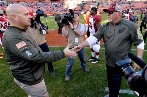 Bruce Arians - the man who wanted to be Browns coach - severely outcoached Mike Pettine on Sunday (USA TODAY Photo)