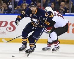 BOGO: Zach Bogosian has stabilized the Sabres' defense since his return. (Photo Credit: Harry Scull Jr./Buffalo News)