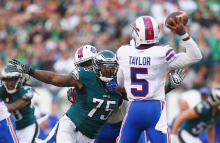The Eagles defensive line destroyed the Bills offensive line Sunday. (Getty Images)