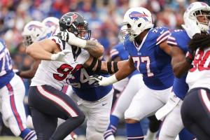 The Bills offensive line had probably their best game of the season neutralizing J.J. Watt (Getty Images)
