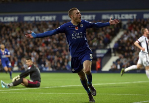 After scoring in a record setting 11 straight games, Jamie Vardy has the world celebrating with him (Getty Images)