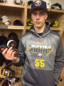 Risto Mad Hatter: Rasmus Ristolainen scored a hat trick during the third period of Thursday's 3-4 loss to the Calgary Flames. (Photo Credit: @BuffaloSabres social media team)