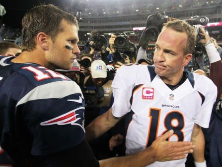 Brady and Manning will meet in the AFC Championship for perhaps the last time. (Getty Images)