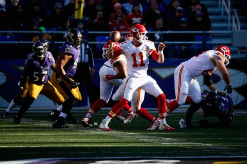 Alex Smith and the Chiefs are looking to kickstart a moribund offense. Unfortunately, this week they get Denver. (Getty Images)