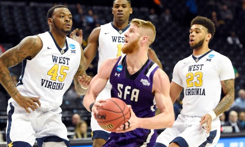 Thomas Walkup and his #14 seed Stephen F. Austin team gave us a thrill by beating West Virginia before falling to Notre Dame in the 2nd round. (Getty Images)