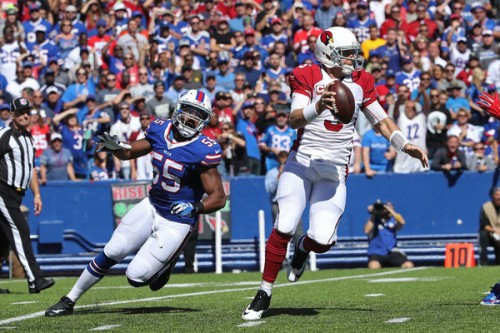 Jerry Hughes was a frequent visitor to the Cardinals backfield Sunday and Carson Palmer was not pleased to see him. (Getty Images)