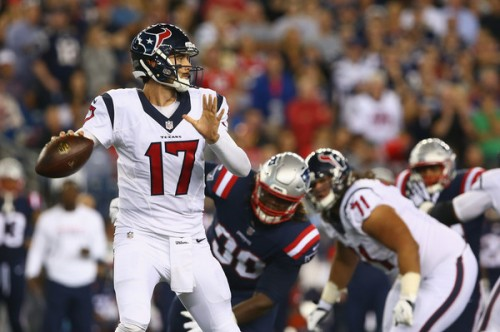 Brock Osweiler struggled mightily as Houston got shutout in New England. (Getty Images)