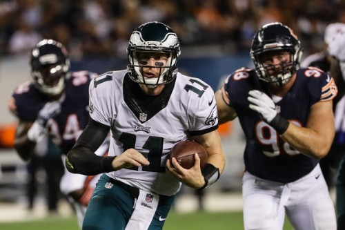 Only two games in, but Carson Wentz looks up to the task. (Getty Images)