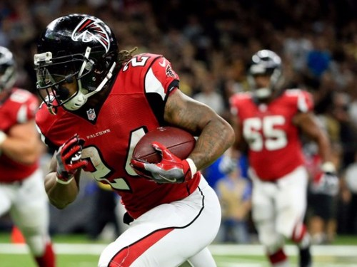 Devonta Freeman (above) and Tevin Coleman ran wild against New Orleans Monday. (Getty Images)