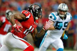 Julio Jones will look to get going against Carolina's tough defense. (Getty Images)