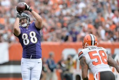 Despite losing several season due to injury Dennis Pitta's chemistry with Joe Flacco makes him a contest changer in your lineup this week. (Getty Images)