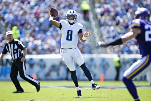 Marcus Mariota and the Titans could be a great value against Detroit this week. (Getty Images)