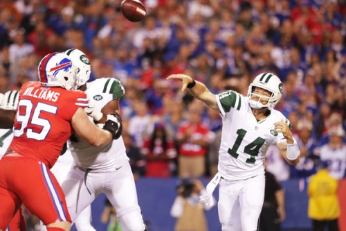 Ryan Fitzpatrick played one of his best games, slicing up Rex Ryan's defense. (Getty Images)