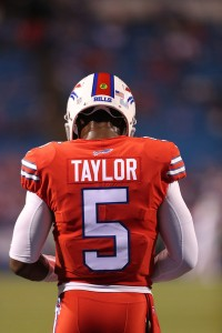 Tyrod Taylor spent most of the night searching for answer, despite a gaudy stat line. (Getty Images)