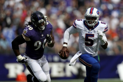 Tyrod Taylor could get nothing going, playing one of his worst games in a Buffalo uniform. (Getty Images)