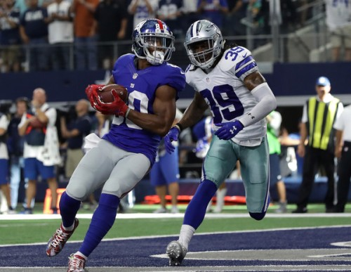 Victor Cruz scores in his first game almost two years. (Getty Images)