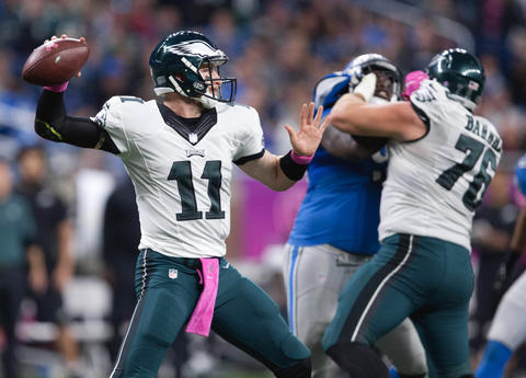 Carson Wentz came back down to Earth as the Eagles suffered their first loss of the season. (Getty Images)
