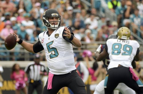 "The ""titanic"" battle between Blake Bortles (above) and Brian Hoyer symbolized a boring week in the NFL. (Getty Images)"