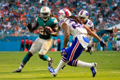 The Bills secondary had trouble tackling Jay Ajayi all day. (Getty Images)