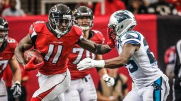 Julio Jones carved up the Panthers defense like a turkey on Thanksgiving. (Getty Images)
