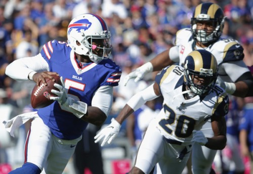 Tyrod Taylor was big topic of discussion on this week's Hard Foul Bills Podcast. (Getty Images)