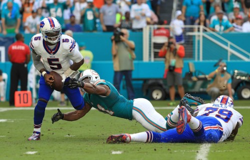 When Tyrod wasn't running for his life he was missing throws. (Getty Images)