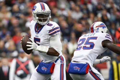 Tyrod Taylor played one of his best games as a Bill Sunday. (Getty Images)