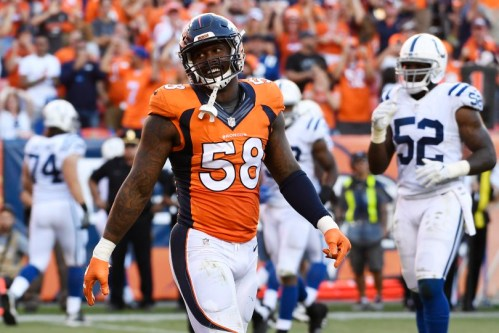 Von Miller will try to reaquaint himself with his good friend Tom Brady this Sunday. (Getty Images)