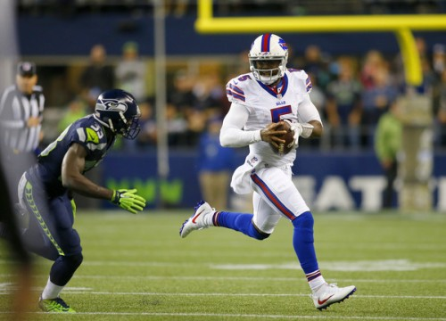 Tyrod Taylor played one of his finest games as a Bill but still came up a play short. (Getty Images)