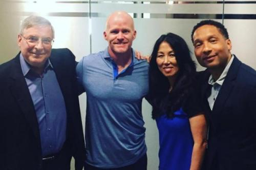 New Bills coach Sean McDermott with Bills owners Terry and Kim Pegula and GM Doug Whaley (Kim Pegula/Twitter)